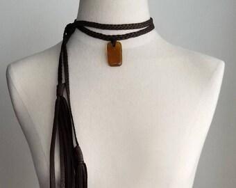 Ziri Leather Necklace, African Glass, Glass Pendant Necklace, Leather Choker, African Beads Fringe Tassels, Boho Tribal Gypsy Surfer Jewelry