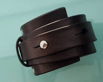 Averey Men's Women's Leather Wrap Cuff Bracelet, Wide Leather Wedge Band, Black Chocolate Brown Tobacco, Motorcycle Hipster, Silver Brass