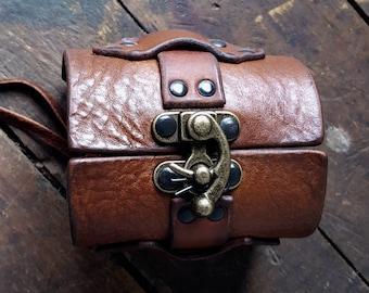 Hook Latch Leather Cuff Bracelet | Steampunk Bracelet | Men's Women's Motorcycle Biker Wrist Cuff | Boho Hippie Bracelet | Leather Jewelry