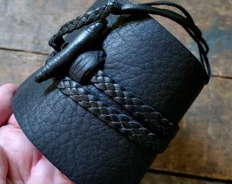 Wide Leather Wrap Cuff, Mens Womens Jason Momoa Style Wrist Band, Black Brown Braided Leather Tie & Button, Gypsy Cowboy Steampunk, BUSAJJA