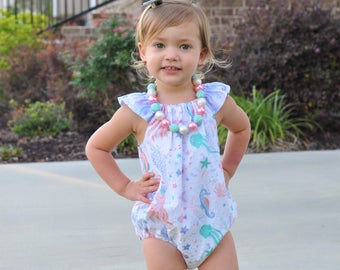 Baby Sea Life Outfit - Toddler Beach Outfit - Baby Romper - Toddler Romper - Baby Ocean Romper - Mermaid Outfit - Baby Sunsuit - Playsuit