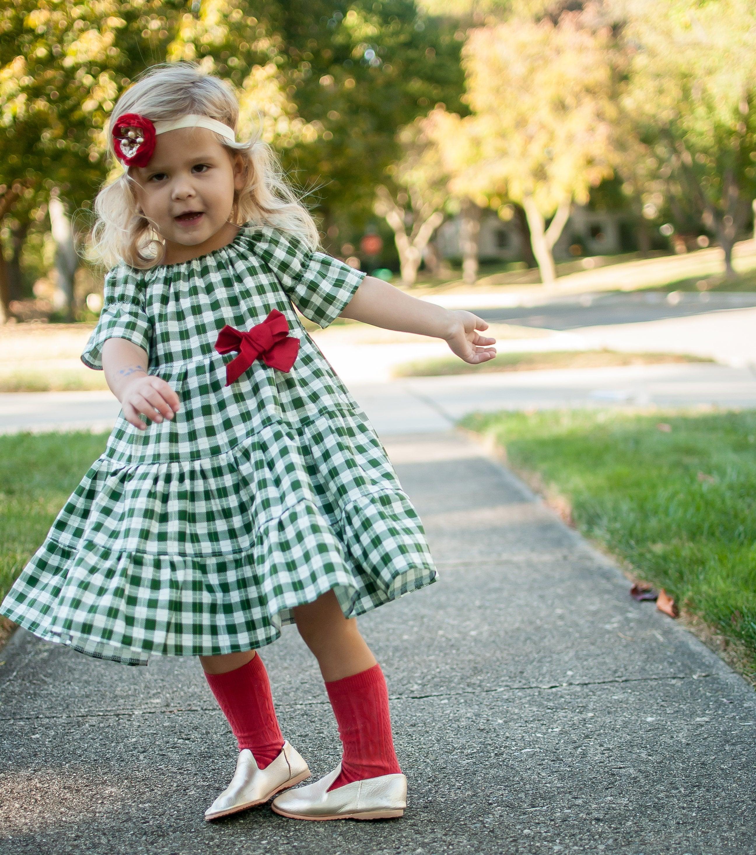 42415a296b Girls Green Holiday Dress Girls Green Christmas Dress