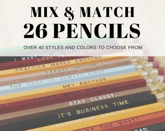 26 for 26 Mix & Match Earmark Pencils, engraved pencil gift set, customized set, Cool stocking gifts, funny stocking gift, tv show quotes
