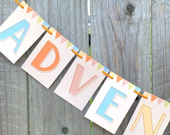 Adventure Awaits Garland Text Party Banner, UP theme decor, UP birthday, Disney hotel decor, adventure is out there, bon voyage decor