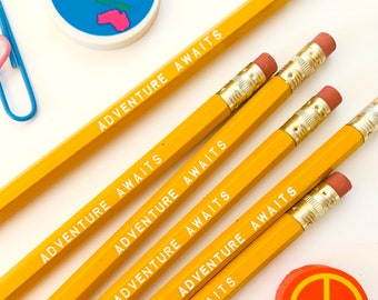 Adventure Awaits Pencil 6 Pack in yellow, Back To School Pencils, fun stocking gift, yellow pencils, travel theme pencil, school supplies