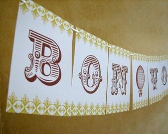 Bon Voyage Travel Inspired Paper Banner Party Garland