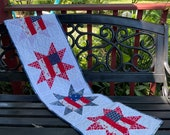 Patriotic Stars table runner red white blue tabletop Independence Day quilted handmade table topper July 4 quilt