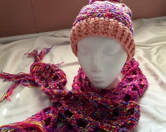635f44628f3 Young girl scarf beanie ribbon candy pink crocheted slouchy pompom open  weave multicolor tassels pink peach yellow blue lavender slouch