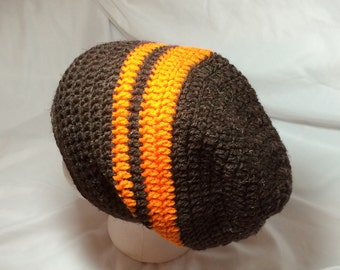 Cleveland Browns slouch slouchy dark brown orange stripes unisex beanie  adult slouchy winter hat football season e502b3839