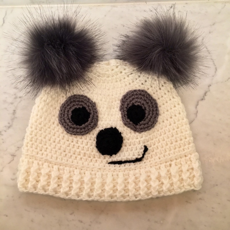 One Size Grey Panda Knitted Hat With Grey PomPom Ears