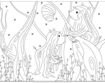 Voodoodles- Bears as Trees coloring page