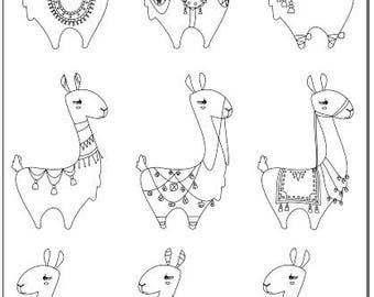 Voodoodles - Lots of Llamas coloring page