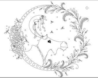 Voodoodles - Summer Moose coloring page