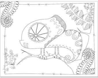 Voodoodles - Clever Chameleon coloring page