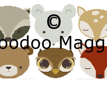 Woodland Animals Cross stitch pattern Complete set