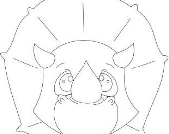 Voodoodles - Cut and Color Triceratops coloring page