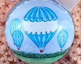 Baby Boy Ornament, Blue Hot Air Balloons, 1st Christmas Ornament, Baby Shower Gift Boy, Blue Baby Boy Ornament, Hand Painted Baby Ornament