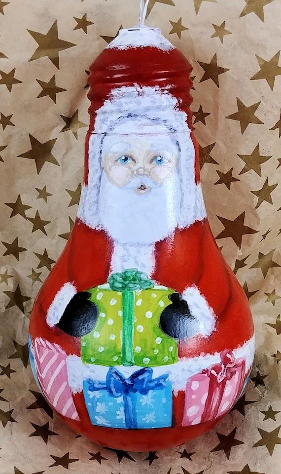 Light Bulb Christmas Ornaments.Santa Claus Ornament Santa Light Bulb Ornament Christmas Ornament Light Bulb Upcycled Ornament Hand Painted Light Bulb Recycle
