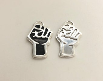 small Silver Raised Fist pendant. BLM jewelry. 25% of item price donated