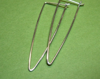 """sterling silver hoops triangle shape - tall triangle long triangle hoops  2 inches 2"""""""