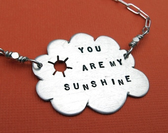 You Are My Sunshine..  sterling silver sun and cloud necklace handmade