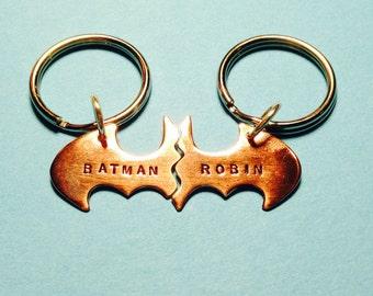 Batman Best Friend Keychains smaller key chain, Personalized Friendship Copper BFF