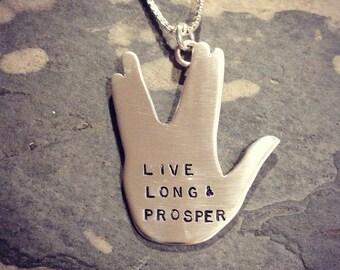Live Long And Prosper sterling silver necklace. vulcan hand. spock star trek geekery