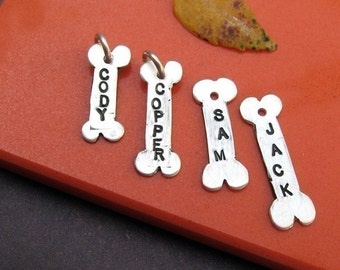 THREE Dog Bone name tags in sterling silver pendant charm