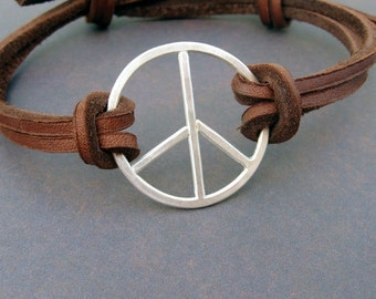 Sterling and leather bracelet for men or women - Peace, Baby