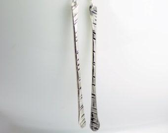 Long Sterling Silver Earrings- Silver Stick Earrings- Long Bar Earrings- Silver Stick Dangle Earrings - Modern Earrings - Minimalist 3003