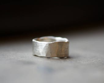 Wide Distressed Wedding Band Ring for him or her • Rustic Edgy Edgy Style Ring in Sterling Silver