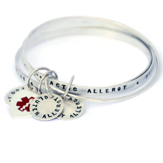 Medical Alert Bracelets >> Medical Alert Bracelet Medical Alert Jewelry Medical Id Bracelet Sterling Silver Bangle Bracelet Medical Bracelet Personalized 1029