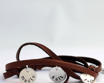 Personalized Leather and Sterling Silver Wrap Bracelet for Mom Bracelet - Custom Jewelry  - EcoFriendly Recycled Silver - for the Hip Mom