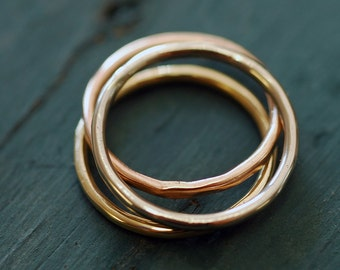 Multi Color Gold Stacking Rings Alternative Wedding Band 14k Yellow Gold Rose Gold White Gold Rings  R4072