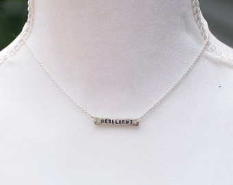 Sterling Silver Hand Stamped Personalized Word Necklace