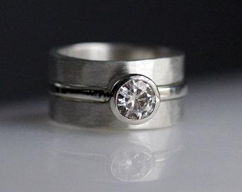 Diamond Alternative Engagement Ring - Sterling Silver Wedding Set - Bridal Jewelry - Wedding Ring Set - Conflict Free Diamond Alternative