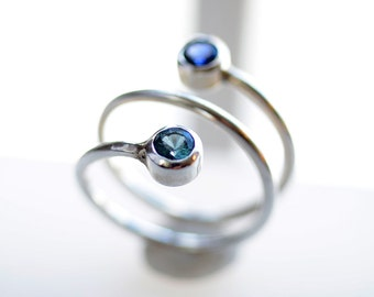 Two Stone Birthstone Ring • Mothers Ring with Two Birthstones • Sterling Silver and Gemstone Mom Ring • Couples Gift • Gift for Mom • Twist