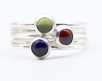 Set of Five Sterling Silver Stacking Birthstone Rings • Choose your birthstone • Personalized • Skinny Band Stacking Rings • Gift for Mom
