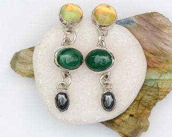multi stone earrings in sterling silver • opal malachite hematite triple drop earrings • statement lightweight earrings • one of a kind