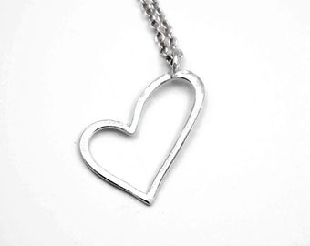 silver heart necklace - heart pendant - love jewelry - love gift for her - sterling silver open heart necklace for layering - self love