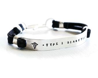 Custom Medical Alert Jewelry Bracelet - Medical ID Bracelet - Mens Medical Alert - Sterling Silver and Leather Wide Cuff Bracelet - Stamped