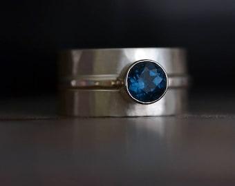 Blue Topaz  Sterling Silver Stacking Ring Set - Alternative Bridal Wedding Set • Engagement Ring • Anniversary Ring • Wedding Band