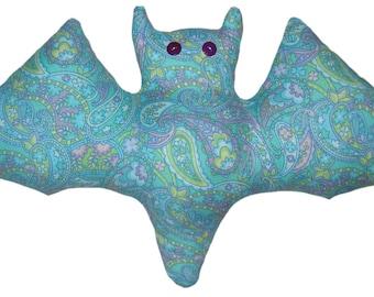 Pastel Blue Paisley Bat Pillow