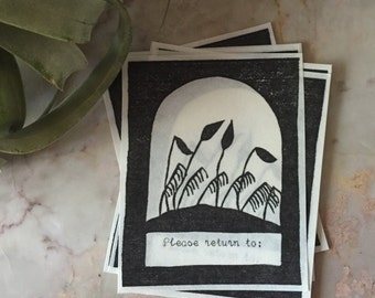 """Relief Printed Moss Bookplates - """"Please return to"""""""