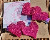 Handmade pretty pink and silver glitter heart hair clips, pair of decorative hair clips, glittery child's hair clips; hair fashion accessory