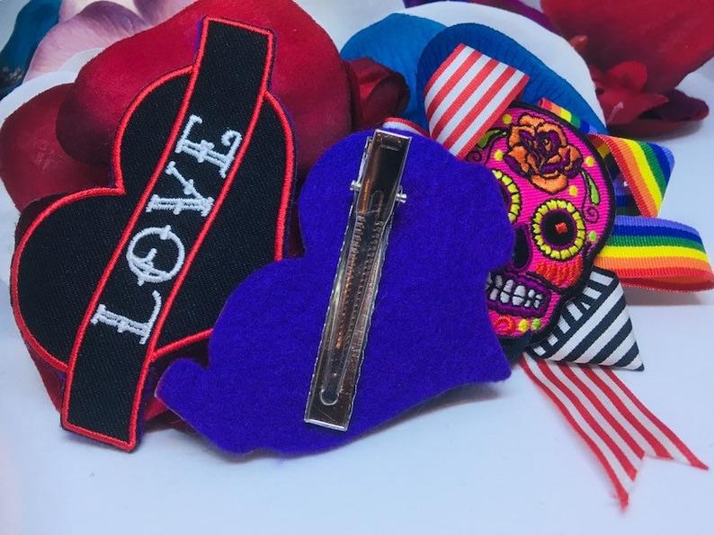 Tattoo style hair clip; ELVIS hair clip; LOVE tattoo decorative hair clip; embroidered decorative hair clip; tattoo hair clip; loveheart