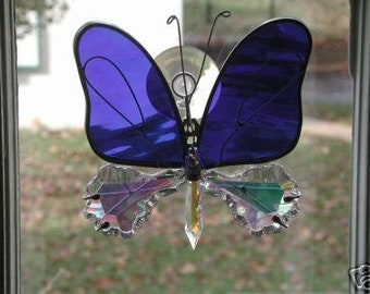 Stained Glass and Crystal Butterfly with Crystal Body