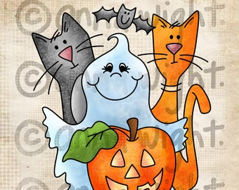 Halloween Gang / Digital Stamp Image / Instant Download