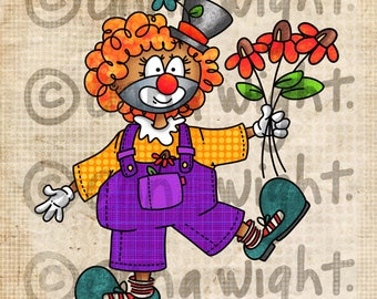 Gladly the Clown / Digital Stamp Image / Instant Download