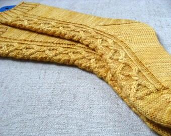 Sock Knitting Pattern Kindred Spirits Women Medium Hand knit pattern Cables